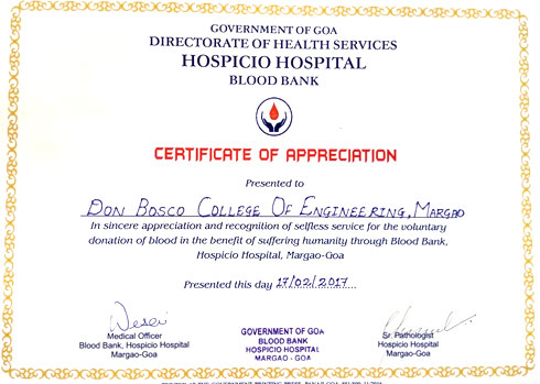 Dbcegoa report of blood donation camp held on 17th certblood yelopaper Choice Image